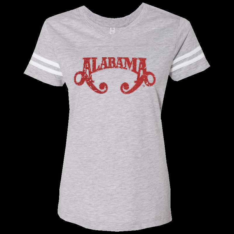 Alabama Ladies Football V Neck Heather and White Tee