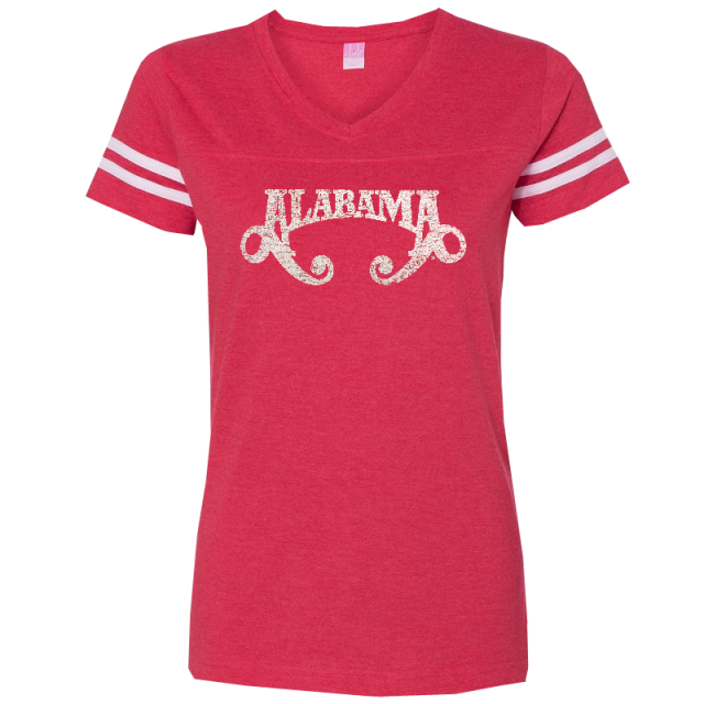 Alabama Ladies Football V Neck Red Tee
