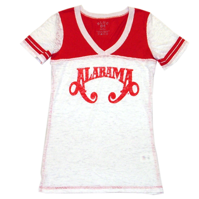 Alabama White and Red Burnout Tee