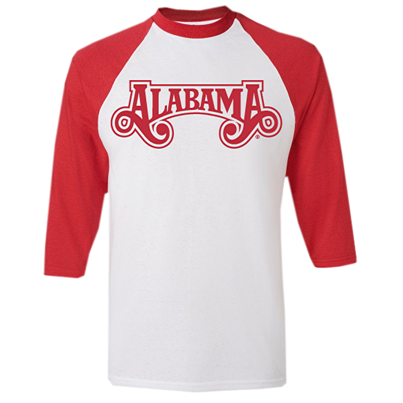 Alabama White and Red Baseball Tee