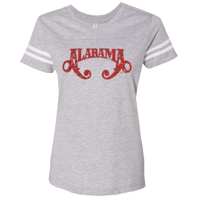 Alabama Ladies Football V Neck Heather and White Tee